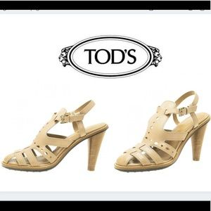 Tod's Leather Strappy T-Strap Sandal Heels